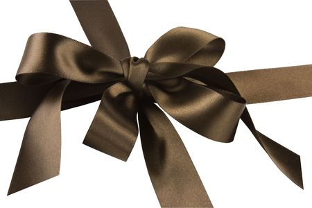 Close up of brown gift bow and ribbon against a white background.