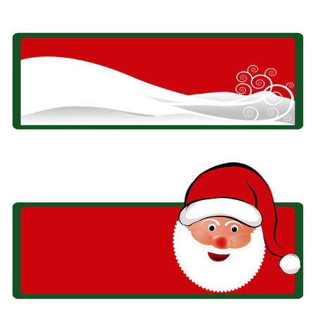 Santa Claus and Christmas scenic holiday gift tags. Çizim
