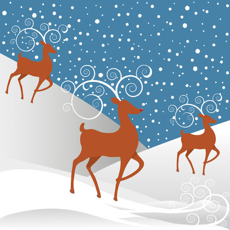 Rudolph the Red-nosed Reindeer with white swirl antlers, white round snowflakes against a blue background.