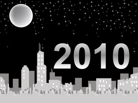 New Year 2010 over a city landscape with a full moon against a black background.
