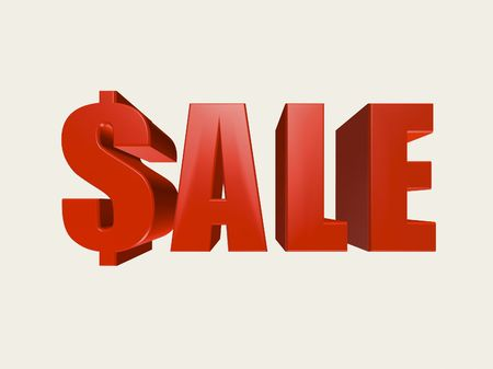 Red three dimensional Sale sign with dollar symbol for the first letter against a white background.