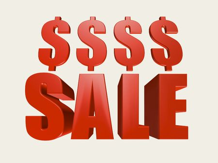 Red three dimensional Sale sign with dollar symbols against a white background.