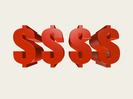 Red three dimensional dollar symbols against a white background.