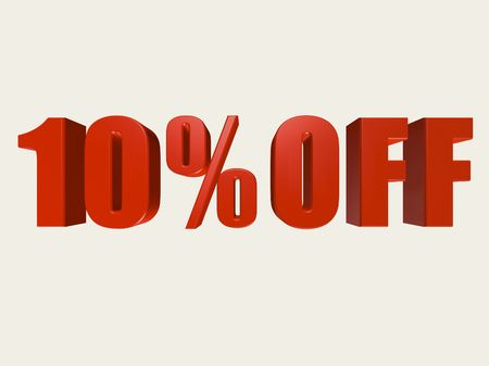 Red three dimensional 10% Off Sale sign against a white background.  Stock Photo