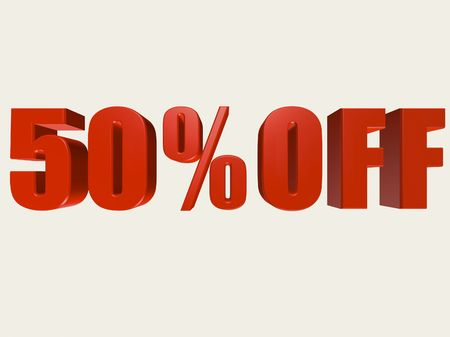 Red three dimensional 50% Off sale sign against a white background.