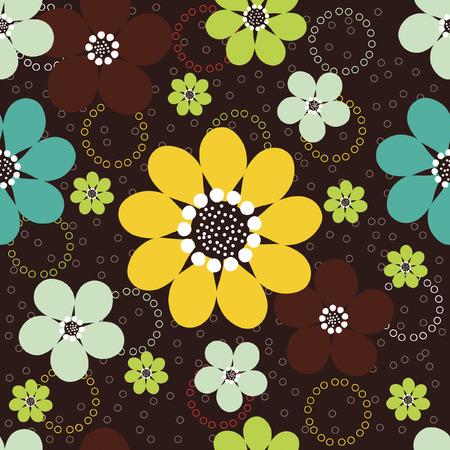 어두운 갈색 배경에 작은 동그라미와 추상 데이지 꽃의 벡터 원활한 패턴입니다. 일러스트