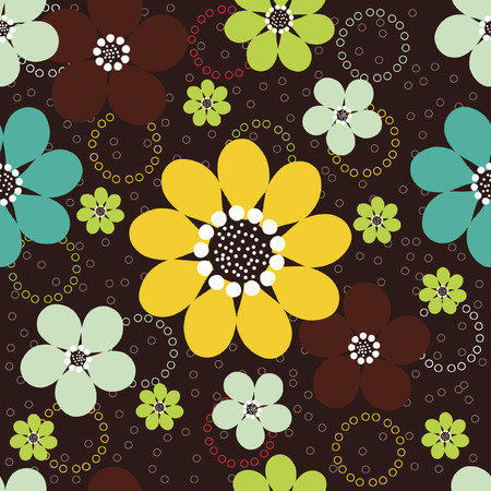 Vector seamless pattern of abstract daisy flowers with tiny circles against a dark brown background.