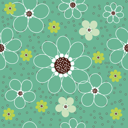 Vector seamless pattern of abstract daisy flowers with tiny circles against a light green background. Иллюстрация