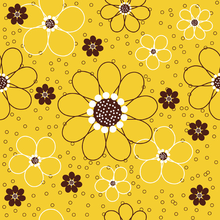 Vector seamless pattern of abstract daisy flowers with tiny circles against a yellow background. Иллюстрация