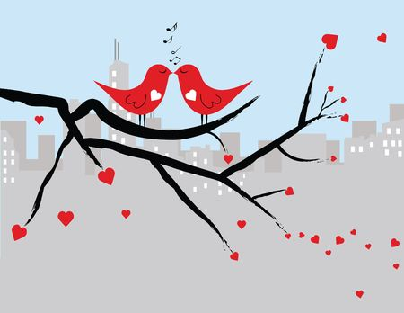 Illustrated red love birds sitting on a black tree branch singing to each other with a cityscape silhouette in the background.