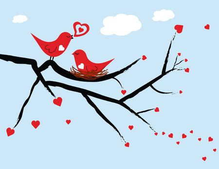 Illustrated red love birds with the female love bird sitting on a nest against a light blue background.