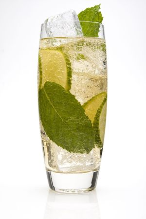 Lime Spritzer Cocktail with lime slices and a mint leaves.