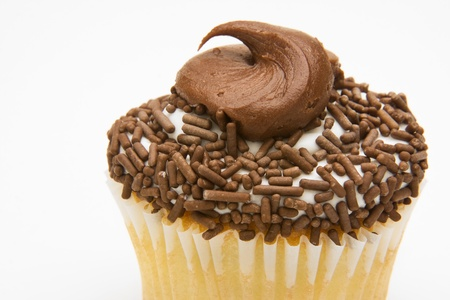Yellow cupcake with chocolate frosting topped with chocolate sprinkles against a white background. Stock Photo - 9501514