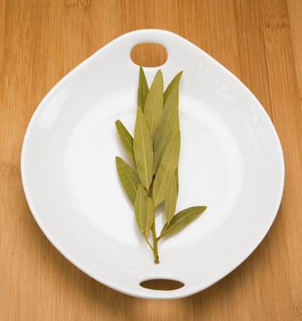 White bowl of uncooked bay leaves on top on a wood chopping block. Stock Photo - 10067173