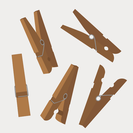 Set of wooden clothespins