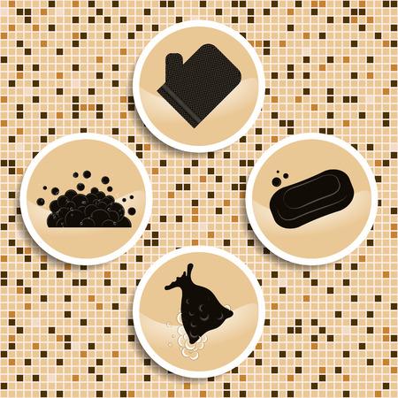 Éléments de massage bain turc sur mocail fond mur