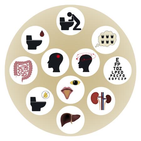 intestinal mucosa: Poisoning with death cap. Poisoning symptoms. Mushroom poisoning. Icons set