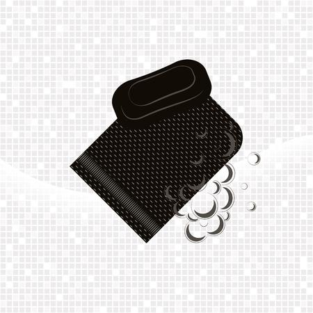 Noir Gant kese avec de la mousse et du savon