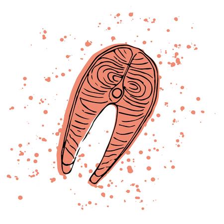 salmon fillet: Hand drawn salmon steak. Vector illustration. Illustration