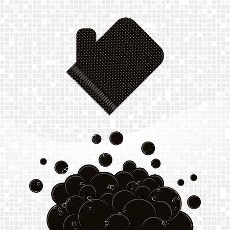 Noir texturé kese gant avec des bulles sur fond gris mosaïque