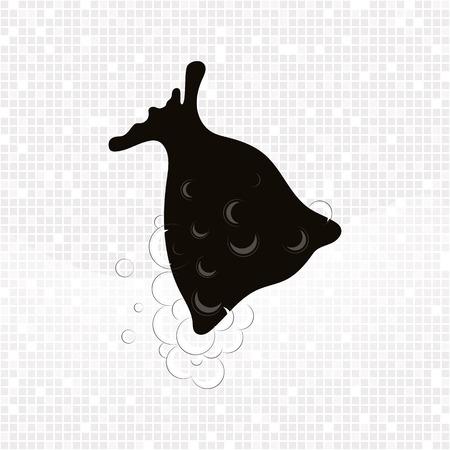 Noir kopuk torbasi avec de la mousse sur fond gris mosaïque