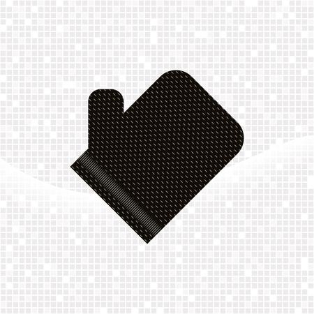 Noir texturé gant kese sur fond gris mosaïque