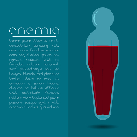 hemoglobin: Anemia design concept. Human body shaped tube with red liquid.