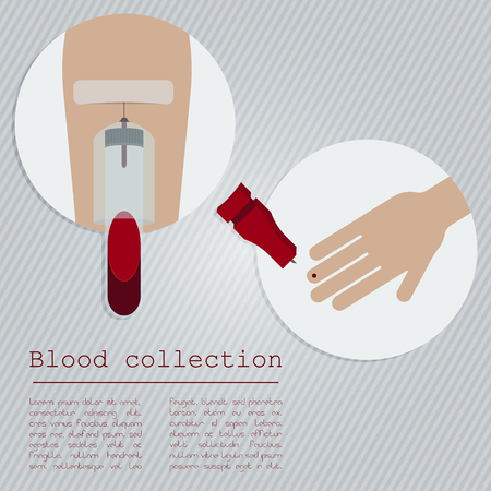 Blood collection concept. Finger prick blood collection. Venous blood collection.