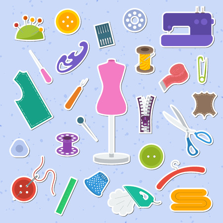 Set of colorful sewing icon
