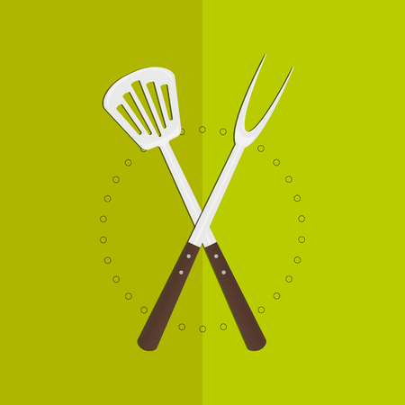 Big fork and spatula crossed Illustration