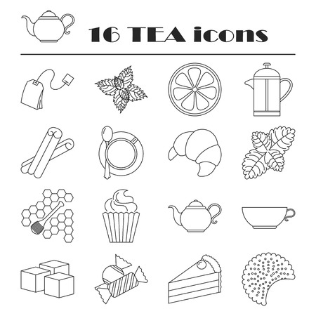 Collection of tea icons. Tea time