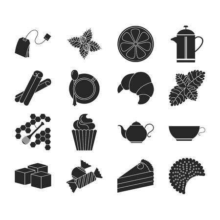 Collection of tea icons. Tea time on silhouette presentation Illustration