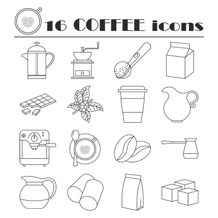 creamer: Collection of thin line coffee icons Illustration