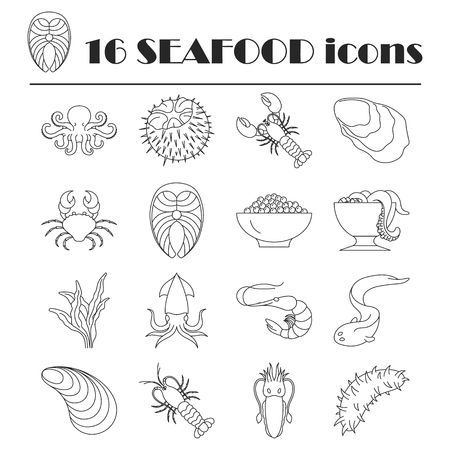 Collection of line seafood icons