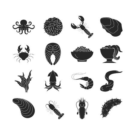 Collection of dark seafood icons Ilustração