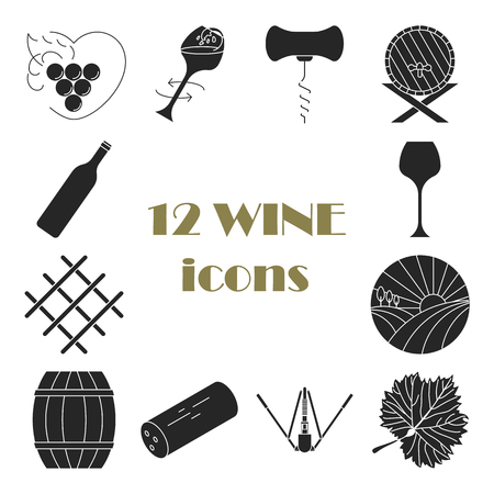 Collection of  dark wine icons