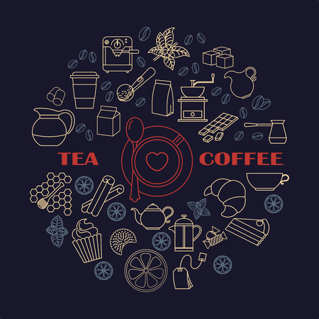 Collection of tea and coffee icons