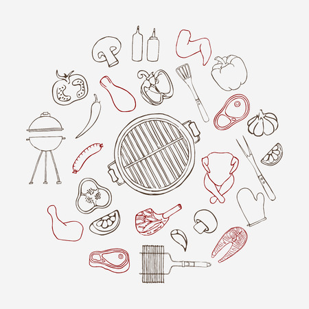 Collection of hand drawn barbeque elements