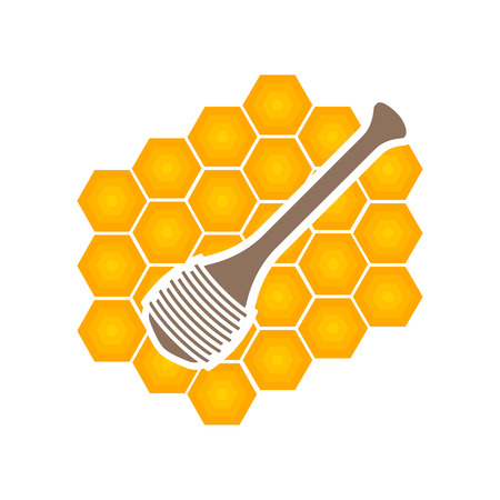 dipper: Honey dipper with honey comb Illustration