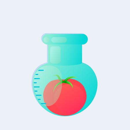 genetic engineering: Genetic engineering. GMO. Tomato in test tube.