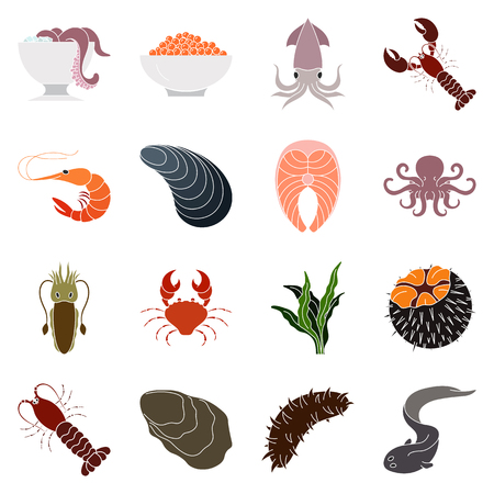 Collection of colorful seafood icons Illustration