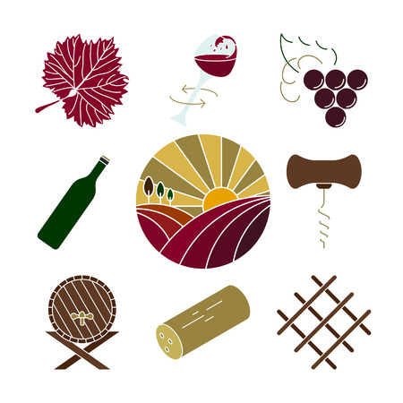 Collection of colorful wine icons