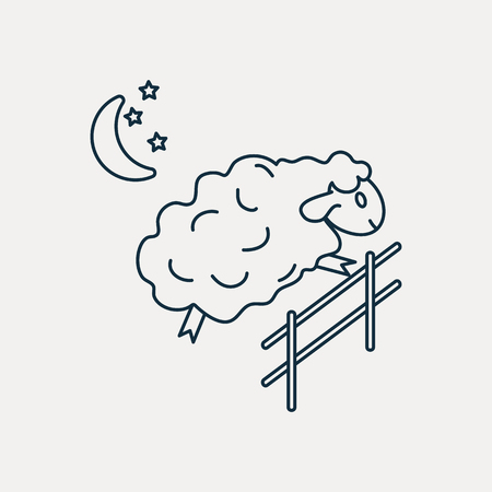 Sheep jumping over the fence Illustration
