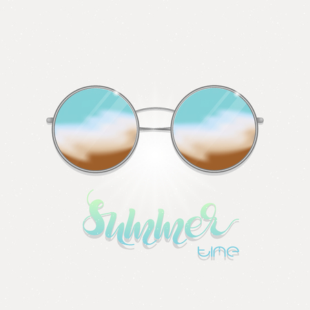 reflection in mirror: Sunglasses with sea reflection Illustration