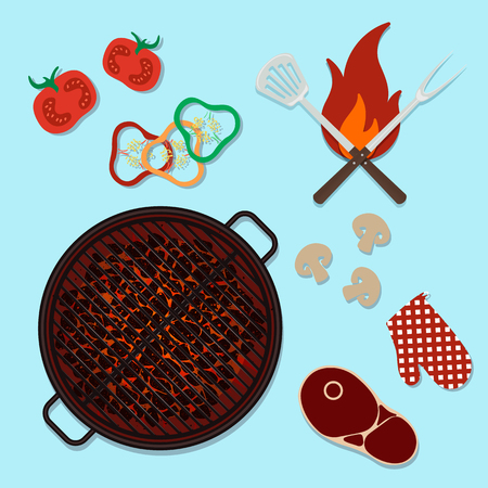 Bbq grill party top view cooking vector illustration