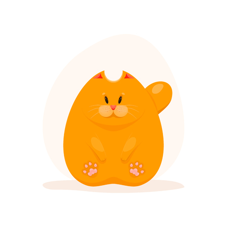 Illustration of cute fatty ginger cat