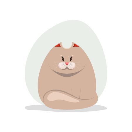 A vector cartoon illustration of a cute fatty cat. Illustration