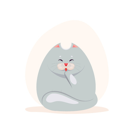 grey cat: Vector illustration of cute fatty grey cat washing the paw