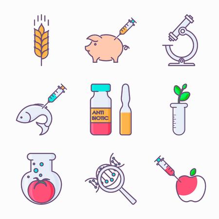 遺伝子組み換えのアイコンのコレクションです。遺伝子組み換え作物。遺伝子工学。遺伝子の突然変異。