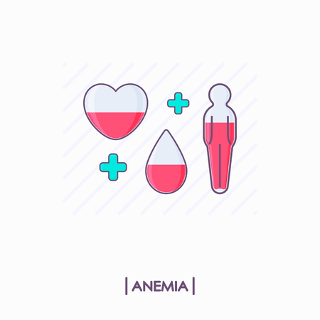 Collection of anemia icons. Heart, drop and human body with low level of red liquid